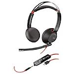 Micro casque Plantronics Plantronics Blackwire 5200 Filaire Stéréo Sur tête Oui USB, 3.5 mm Jack Oui Noir