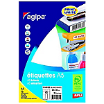 96 Etiquettes de bureau A5   Agipa   blanches 45 x 80 mm