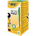 Stylo bille rétractable BIC M10 Original 0.4 mm Vert   50 Unités