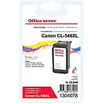Cartouche jet d'encre Office Depot Compatible Canon CL 546XL Noir, Cyan, Magenta, Jaune