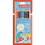 Crayons de couleur aquarellables STABILO aquacolor Assortiment   12 Unités