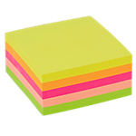 Cube de notes adhésives Office Depot 76 x 76 mm Assortiment néon   400 Feuilles