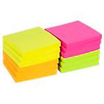 Notes adhésives Office Depot 76 x 76 mm Assortiment néon   12 Unités de 100 Feuilles