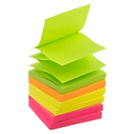 6 blocs de notes repositionnables   Office DEPOT   Accordéon   76 x 76 mm   coloris néon