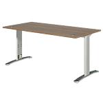 Bureau droit Dual 160 x 80 x 73 cm Imitation noyer, gris aluminium