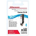 Cartouche jet d'encre Office Depot Compatible Canon CLI 8C Cyan