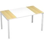 Bureau droit 4 pieds Paperflow EasyOffice Imitation hêtre, blanc 1400 x 800 x 750 mm