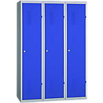 Vestiaire Industrie Salissante monobloc 3 colonnes 1200 x 500 x 1800 mm Bleu