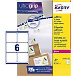 Étiquettes d'adresses Avery L7166 100 A4 Blanc 99,1 x 93,1 mm 100 Feuilles de 6 Étiquettes