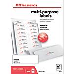 Étiquettes multifonctions Office Depot Coins droits Special format Blanc 105 x 35 mm 100 Feuilles de 16 Étiquettes