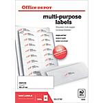 Étiquettes multifonctions Office Depot Coins droits 105 x 37 mm Blanc 105 x 37 mm 100 Feuilles de 16 Étiquettes