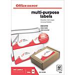 Étiquettes multifonctions Office Depot Coins droits A6 Blanc 105 x 148 mm 100 Feuilles de 4 Étiquettes
