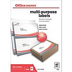 Étiquettes multifonctions Office Depot Coins droits Blanc 200 étiquettes 100 feuilles de 2 étiquettes