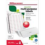 Étiquettes multifonctions recyclées Office Depot Coins droits 6500 étiquettes 100 feuilles de 65 étiquettes