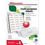 Étiquettes multifonctions recyclées Office Depot Coins droits Blanc 70 x 36 mm 100 Feuilles de 24 Étiquettes