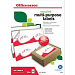 Étiquettes multifonctions recyclées Office Depot Coins droits A6 Blanc 105 x 148 mm 100 Feuilles de 4 Étiquettes