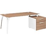 Bureau avec caisson de tiroirs Gautier Office Xenon 190 (L) x 90 (P) x 75 (H) cm Imitation merisier italien