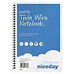 Cahier à spirale Niceday Bleu, blanc A5 Quadrillé Sans perforation 100 Pages   5 Unités de 50 Feuilles