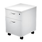Caisson mobile 2 tiroirs Quadra 430 x 520 x 600 mm Blanc