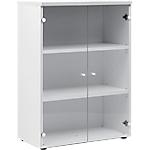 Armoire bibliothèque H. 109 cm 2 portes verre Gautier Office Top Line 80 (L) x 42 (P) x 109 (H) cm Blanc
