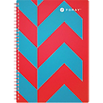 Cahier petits carreaux reliure intégrale Foray Extreme A4 Rouge, turquoise 200 Pages   100 Feuilles
