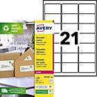 Étiquettes d'adresses AVERY Zweckform LR7160 100 A4 Blanc 63,5 x 38,1 mm 100 Feuilles de 21 Étiquettes