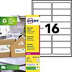 Étiquettes d'adresses AVERY Zweckform LR7162 100 A4 Blanc 99,1 x 33,9 mm 100 Feuilles de 16 Étiquettes