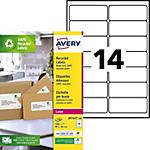 Étiquettes d'adresses AVERY Zweckform LR7163 100 A4 Blanc 99,1 x 38,1 mm 100 Feuilles de 14 Étiquettes