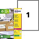 Étiquettes d'adresses Avery QuickPEEL Blanc 199,6 x 289,1 mm 100 Feuilles de 1 Étiquettes