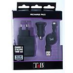 Chargeur secteur et allume cigare micro USB T'nB CHBBFULL2 Noir   2 Unités