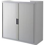 Armoire portes à rideaux   H. 104 x L. 110 cm   Paperflow   easyOFFICE   décor uni gris