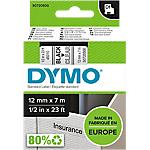 Ruban d'étiquettes DYMO D1 45010 12mm (L) x 7m (l) Noir, transparent