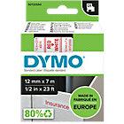 Ruban d'étiquettes DYMO D1 45015 12 mm x 7 m Rouge, blanc