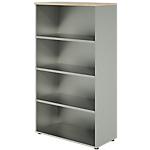 Bibliothèque haute Dual 90 x 45 x 160 cm Imitation chêne, gris aluminium