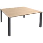 Table de réunion 4 pieds Graphite Expert Imitation chêne, gris graphite 1400 x 1400 x 725 mm Hauteur pas Réglable