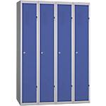 Vestiaire Industrie Propre monobloc 4 colonnes 1200 x 500 x 1800 mm Bleu