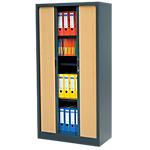 Armoire portes à rideaux Realspace Tôle d'acier 900 x 450 x 1800 mm Anthracite, Imitation Hêtre