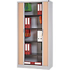 Armoire portes à rideaux Realspace 1000 x 450 x 1980 mm Aluminium, Imitation Hêtre