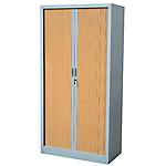 Armoire portes à rideaux H.198 x L.120 cm   Realspace PRO   décor imitation bois Corps Aluminium