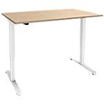 Bureau assis debout Piètement en L e Adjust Imitation chêne, blanc 1400 x 800 x 1200 mm Hauteur Ajustable électriquement