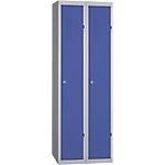 Vestiaire Industrie Propre monobloc 2 colonnes 600 x 500 x 1800 mm Bleu