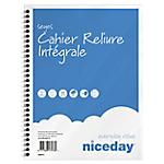 Cahier à spirale Niceday Bleu, blanc Quadrillé Sans perforation 100