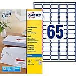 Mini étiquettes AVERY Zweckform J8651 25 Blanc 21,2 x 38,1 mm 65 Feuilles de 25 Étiquettes