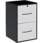 Classeur monobloc 2 tiroirs pour dossiers suspendus 420 x 440 x 690 mm Blanc, Noir