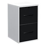Classeur monobloc 2 tiroirs pour dossiers suspendus Elégance 420 x 440 x 690 mm Blanc, noir