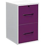 Classeur monobloc 2 tiroirs pour dossiers suspendus Elégance 420 x 440 x 690 mm Blanc, prune