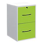 Classeur monobloc 2 tiroirs pour dossiers suspendus Elégance 420 x 440 x 690 mm Blanc, Vert