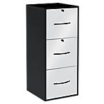 Classeur monobloc 3 tiroirs pour dossiers suspendus Élégance 420 x 440 x 1010 mm Blanc, Noir