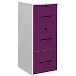 Classeur monobloc 3 tiroirs pour dossiers suspendus Elégance 420 x 440 x 1010 mm Blanc, prune