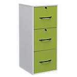Classeur monobloc 3 tiroirs pour dossiers suspendus Elégance 101 (H) x 42 (L) x 44 (P) cm Blanc, Vert
